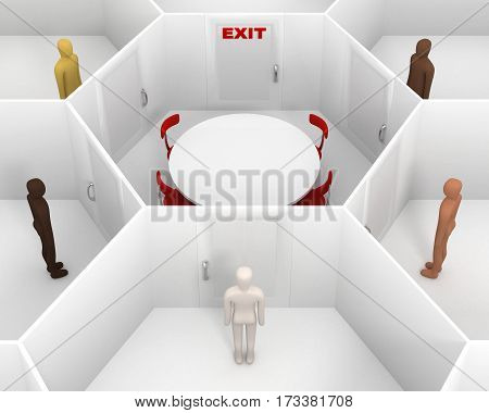 Five people with different skin colors standing in front of door, around hexagonal closed white room with round table, chairs and closed door with red exit text sign. 3D Illustration