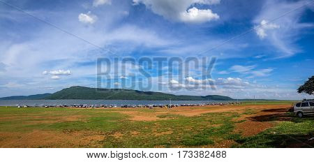 landscape of tourism location dam with mountain and bluesky Pattaya 2 Khonkaen