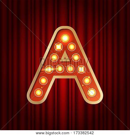 Realistic Retro Gold Lamp Bulb Font Letter A. Part Of Alphabet I