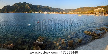 turkey seashore white sand seacoast mediterranean sea a ship in the water summer vacation