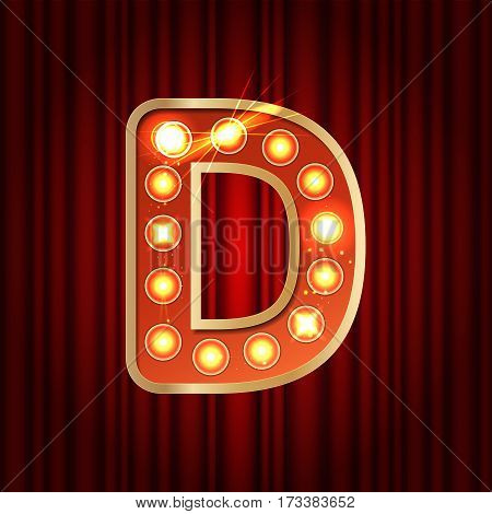 Realistic Retro Gold Lamp Bulb Font Letter D. Part Of Alphabet In Vintage Casino And Slots Style.  V