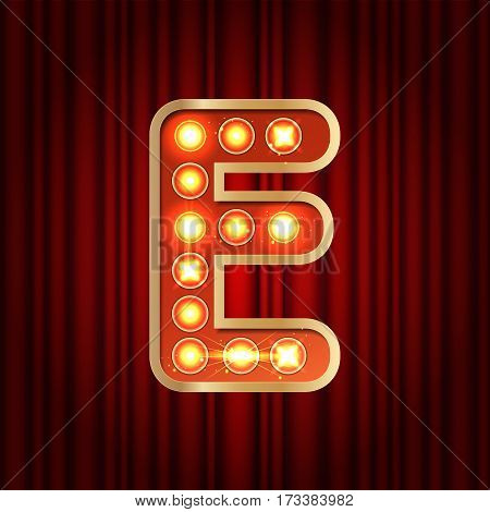 Realistic Retro Gold Lamp Bulb Font Letter E. Part Of Alphabet In Vintage Casino And Slots Style.  V