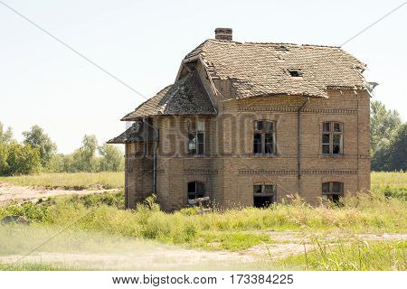 Old Ruined House With Bricks Copy Space