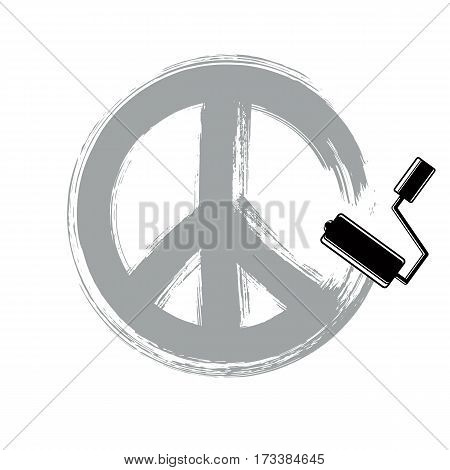 Hand-drawn vector peace symbol from 60s made with brushstrokes. Hippie theme art icon created with paintbrush.