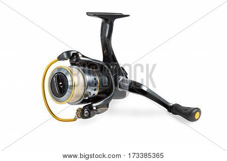 Fishing reel with tread isolated on white background.