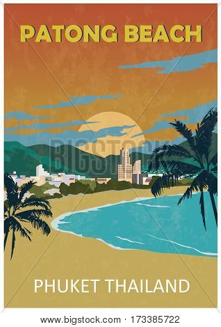Poster of Patong beach. Phuket. Thailand Retro style