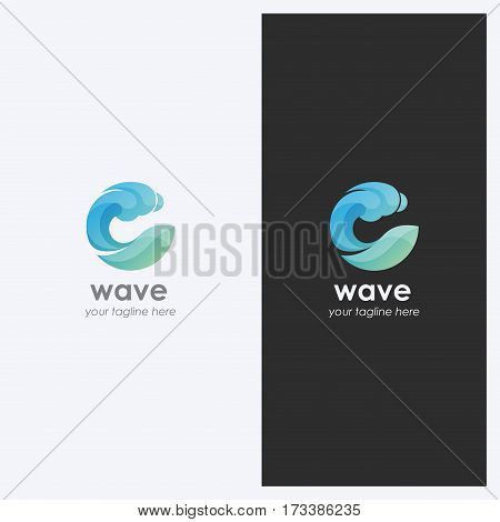 Abstract Water Wave Shape Logo Design Template. Corporate Business Theme. Cosmetics Surf Sport Concept. Simple and Clean Style. Vector.