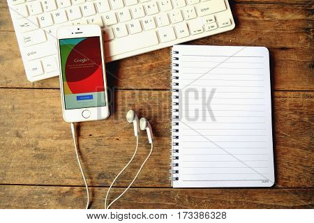 CHIANGMAI THAILAND -April 14 2016:Brand new Apple iPhone with Google+ social network of the Google company. Information of a social network influences Google search results.