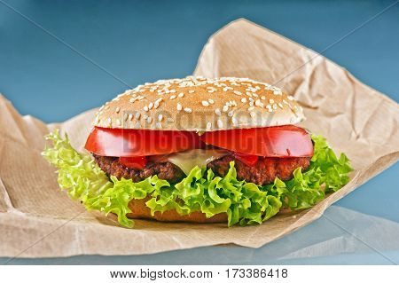 Tasty cheeseburger with tomatoes and fresh green lettuce on blue background