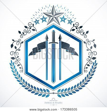 Vector emblem vintage heraldic design created with armory and pentagonal stars