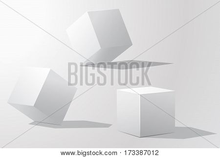 Set of white cubes in different projections. Geometric surfac. Rotate the cube. Isolated objects on a white background. White cube. Vector illustrations.
