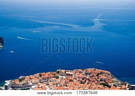 Dubrovnik Old Town Red Roofs View ans Sea