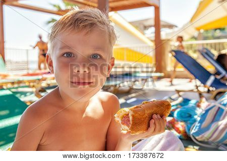 Adorable kid boy eating hot dog at the beach aquapark