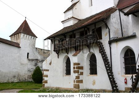 Fortified saxon medieval church in the village Harman, Transylvania, Romania.