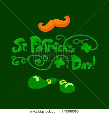 Saint Patrick's day floral lettering. Vector illustration on dark green background. Greetings card. Some signs of the celebration