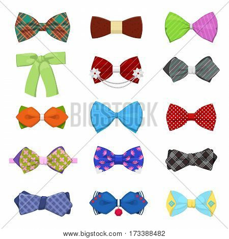Bow Ties Set for Celebration and Party. Mens Fashion. Vector illustration