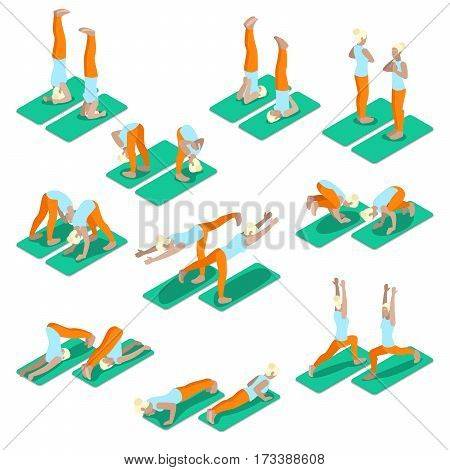 Isometric Woman Yoga Exercices Set. Fit Girl Exercising in Different Poses. Vector 3d flat illustration