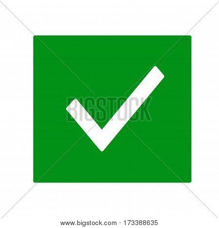 Check mark in green box. Vector icon.