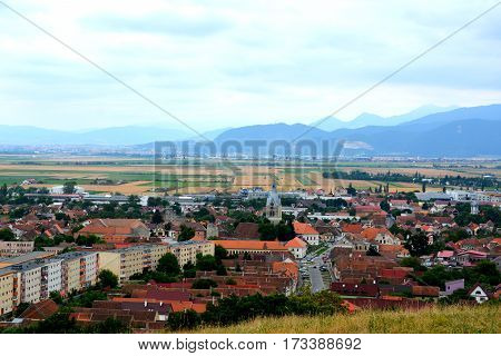 Aerial view of the village Codlea, Transylvania, Romania