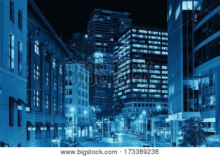 VANCOUVER, BC - AUG 17: Downtown street view at night on August 17, 2015 in Vancouver, Canada. With 603k population, it is one of the most ethnically diverse cities in Canada.