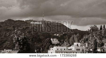 Los Angeles, CA - MAY 18: Hollywood sign on mountain on May 18, 2014 in Los Angeles. Originated as a real estate promotion, it is now the famous landmark of LA and US.