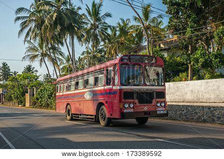 Mirissa, Sri Lanka - January 11, 2017: Regular Public Bus. Buses Are The Most Widespread Public Tran