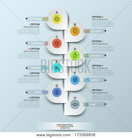 Infographic design template with vertical timeline and 8 connected icon badges, monthly business progress concept, company development steps. Vector illustration for website, presentation, report.