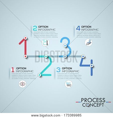 Infographic design template with elements connected by lines in shape of four numbers, business development process concept. Vector illustration for corporate website, banner, presentation, report.