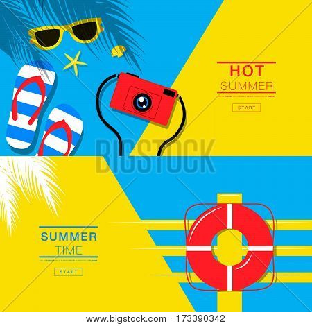 Summer tropical vacation backgrounds design banner layout flat lay vector illustration.