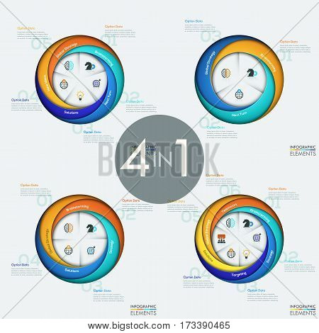 Set of 4 modern circular infographic design templates with sectors, strategic business elements, steps to success. Project management and planning concept. Vector illustration for website, report, ad.