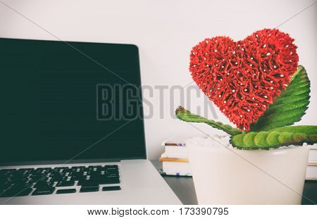 Heart flower in wihite pot with laptop computer