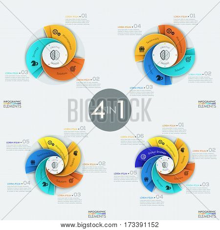 Set of 4 modern circular infographic design templates with 3, 4, 5 and 6 spiral sectors of different colors. Business development strategy elements. Vector illustration for report, presentation.