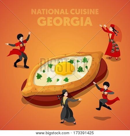 Isometric Georgia National Cuisine with Khachapuri and Georgian People in Traditional Clothes. Vector 3d flat illustration