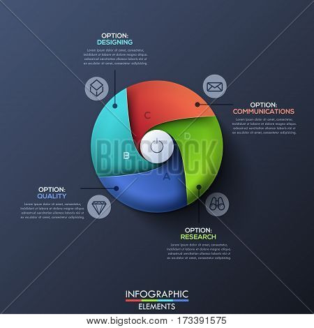 Modern infographic design template with circle divided by 4 spiral sectors and start button in center. Successful business launch and development concept. Vector illustration for corporate website.