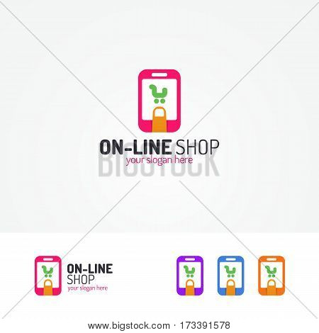 On line shopping logo consisting of shopping cart in phone and tab finger use for app, store, shop, market and etc. Vector Illustration