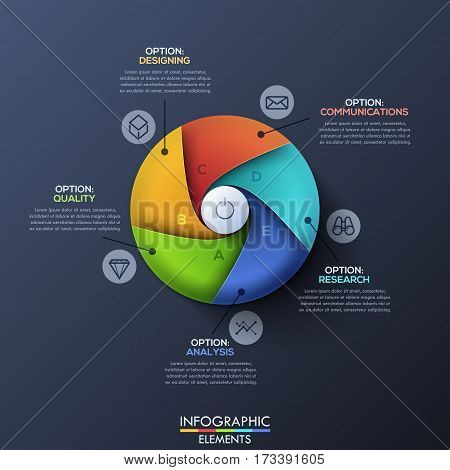 Infographic design template. Circle divided by 5 spiral sectors with letters and start button in center. Company launch and development strategy concept. Vector illustration for website, report.