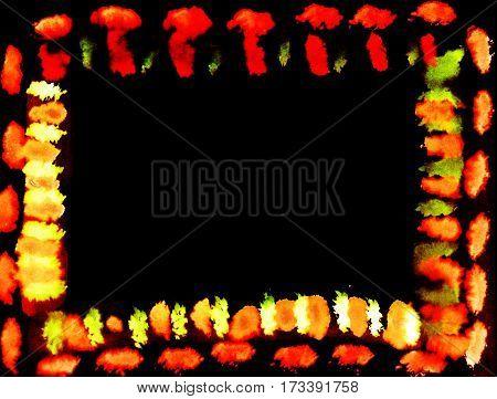 Exotic vivid barbarian orange lighting hand-paint irregular horizontal frame and black background