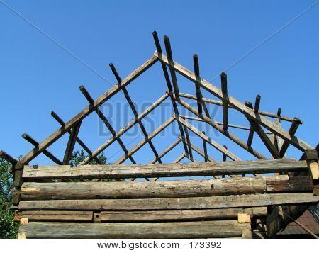 Wooden Roof Framework Under Construction