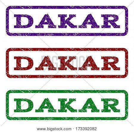 Dakar watermark stamp. Text caption inside rounded rectangle frame with grunge design style. Vector variants are indigo blue red green ink colors. Rubber seal stamp with dust texture.