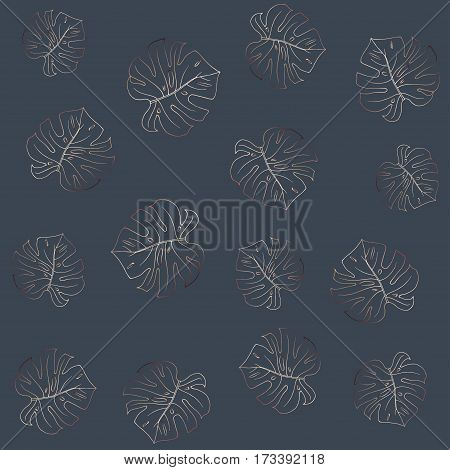 Seamless pattern on a dark grey background. Fashionable graphite color. Bronze outline. Trendy monstera leaves. Vector. Funky texture for wallpaper, wrapper, or cover.