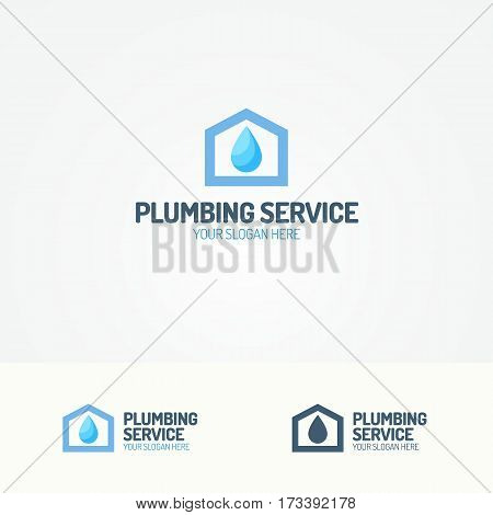Plumbing service logo set with house and water drop for used plumbing and heating company, sanitary and hygiene firm, fix and repair leak and pipe etc. Vector Illustration