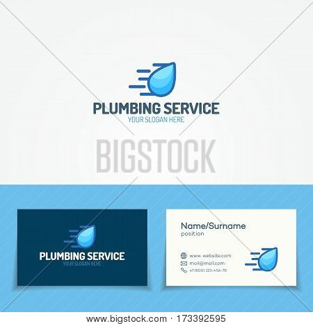 Plumbing service logo set with flying water drop and business card for used plumbing and heating company, sanitary and hygiene firm, fix and repair leak and pipe etc. Vector Illustration
