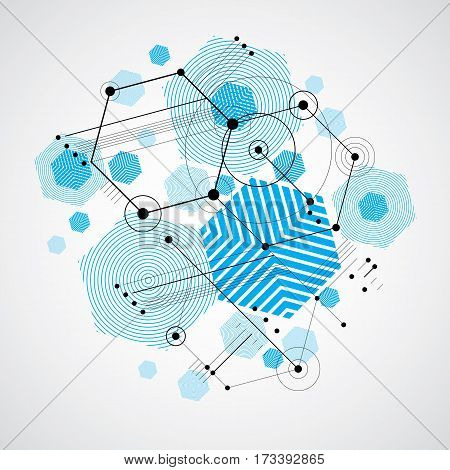 Modular Bauhaus vector background created from simple geometric figures like hexagons circles and lines. Best for use as advertising poster or banner design. Abstract mechanical scheme.