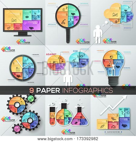 Set of 9 paper infographic design templates in shape of speech and thought bubbles, magnifier, computer screen, watch, light bulb, flasks. Business concepts. Vector illustration for poster, report.
