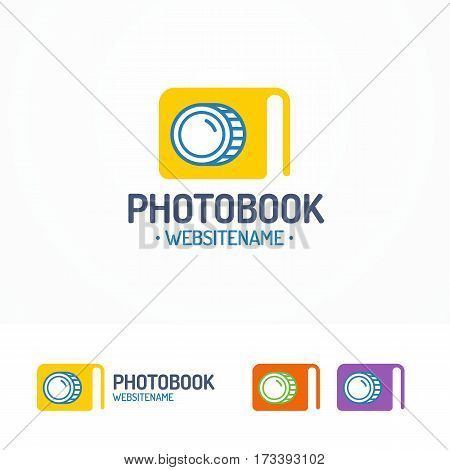 Photobook logo set with book and lens modern color flat style for use photostudio, photoschool, photoeducation and etc. Vector Illustration