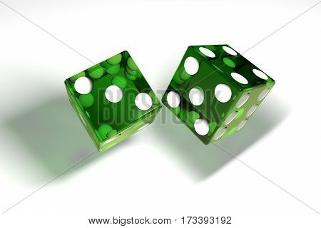 3d image: high quality rendering of transparent green rolling dices with white dots. The cubes in the cast. throws. High resolution. Realistic shadows. on white background