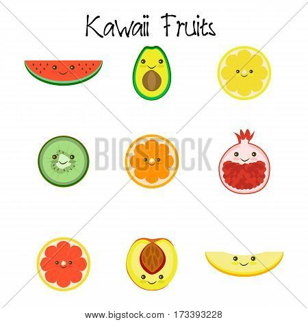 Kawaii fruit Collection icon isolated on white background