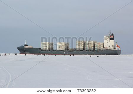 Saint-Petersburg, RUSSIA - Feb 8 2017: Commercial ship