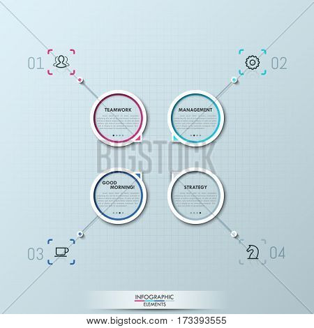 Modern infographic design template, 4 numbered circular elements with arrows pointing to center. Project options, elements of business development concept. Vector illustration for website, report.