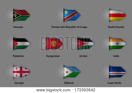 Set of flags in the form of a glossy textured label or bookmark. Vanuatu Respubika Democratic Congo South Ossetia Palestine Kyrgyzstan Jordan India Georgia Djibout Cape Verde. Vector illustration.
